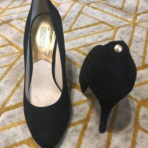 Black micro suede heels
